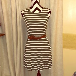 Adorable Olive Green Striped Summer/Spring Dress